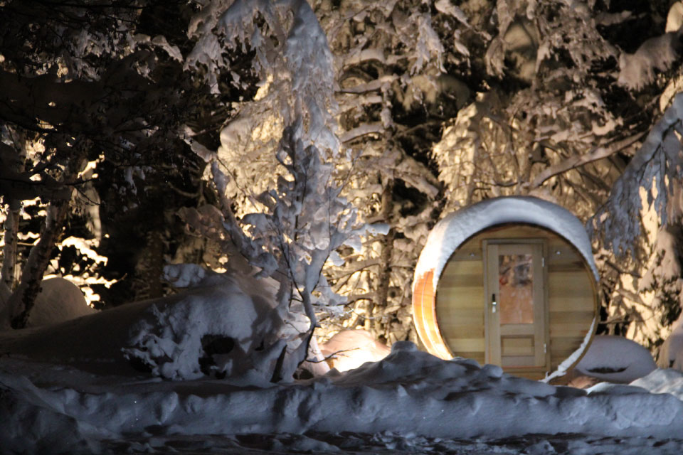Sauna vision Storvatt sur la chaîne de Belledonne